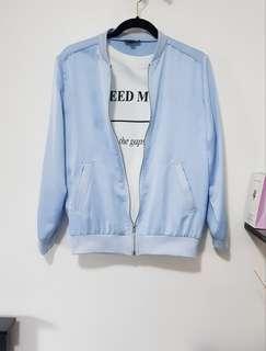 Topshop Baby Blue Varsity Jacket