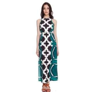 MDS Collections Tiles Poker Green Colourblock Abstract Maxi Slit Dress