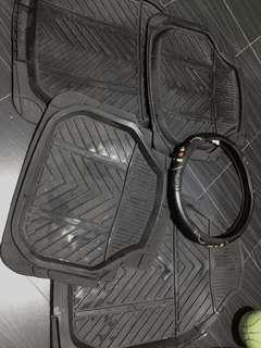 Car matting and streering wheel cover