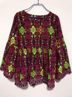 Flare Bell Sleeve Ethnic Blouse Top