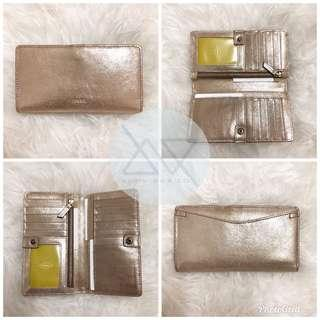 Fossil Caroline RFID slim bifold wallet Pale Gold Metallic