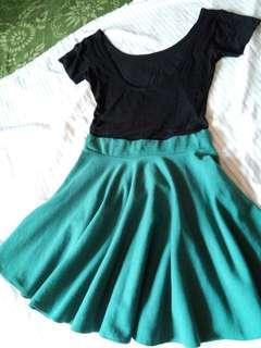 Lowback top and green skater skirt