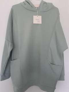 湖水綠長版帽t#十月女裝半價