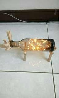 全新火樹銀花小夜燈 麋鹿造型 玻璃實木小夜燈