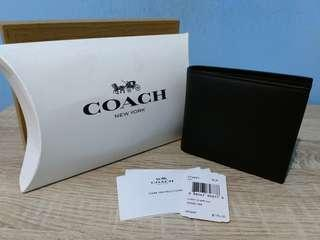 Coach F74991 Black - Compact ID Wallet in Sport Calf Leather