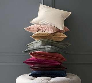 New Pottery Barn Washed Velvet 20x20 Luxurious Pillow Case