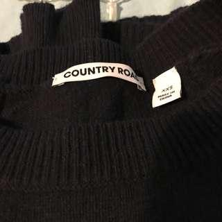 Country Road boat neck navy blue knit sweater