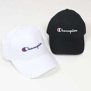 INSTOCKS Champion Baseball Cap [ BLACK / WHITE ]