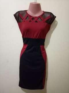 Red-black casual dress