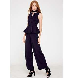 Megagamie MDS Blogshop Black Peplum Tuxedo Elegant Culottes Black Jumpsuit
