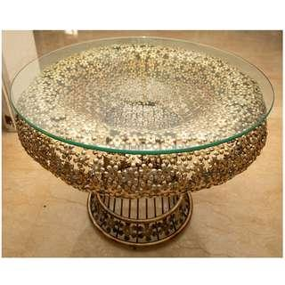 Glass Top Side Table with Gilded Metal Base