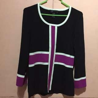 Cotton knit long sleeves blouses