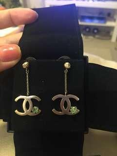 Authentic Chanel Earrings Dangling with Crystal