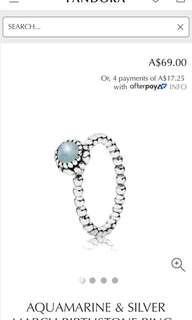 Pandora ring aquamarine size 50
