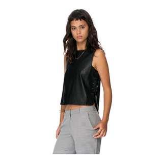 Lace Up Side Seam Leather Top