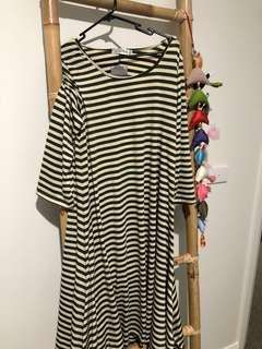 Long Khaki Dress Striped Size 10-12