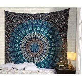 #7: Navy Peacock QUEEN SIZE Mandala Tapestry