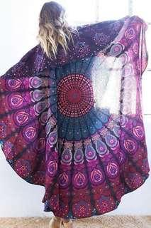 #RD1: Purple Peacock Round Mandala Tapestry