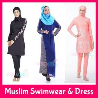 ★FREE Courier Delivery★S-4XL Size★Muslim Muslimah Swimming Costumes★Baju Long Dress★Burqini Burkini★Plus Size★Long Sleeve Dress Pants Baju★Conservative Coverall