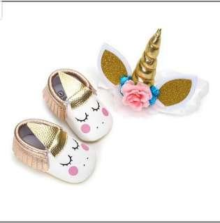 Unicorn baby shoes w head band