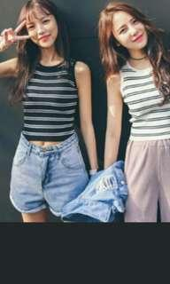 Instock stripe sleeveless crop top* brand new * chat to buy if int