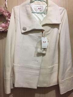日本品牌H2O 羊毛米白短大衣外套