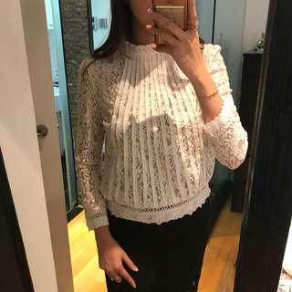 Korean white lace top high neck office wear long sleeves