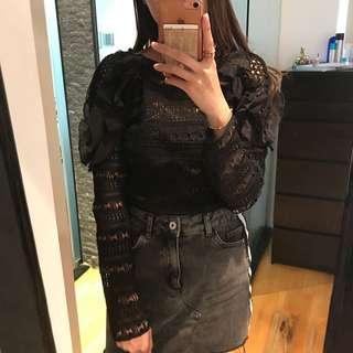 Korean black ruffle shoulder lace top long sleeves
