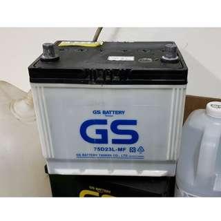 (二手中古電池) GS 75D23L-加水式汽車電池 數值漂亮,品項優