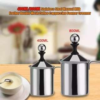 Milk foamer frother Stainless steel coffee 400ml 800ml