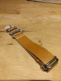 Leather Zulu 20mm watch Strap Free Post tan colour