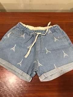 Denim shorts Eiffel tower design