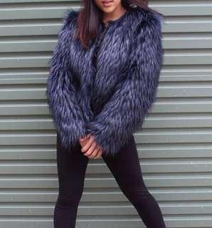 REDUCED H&M faux fur jacket - navy/blue