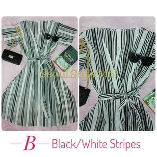 Stripes Self Tie Wrap Around Overlap Dress