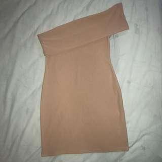 🔘Nude Bodycon One Shoulder Dress 🔘