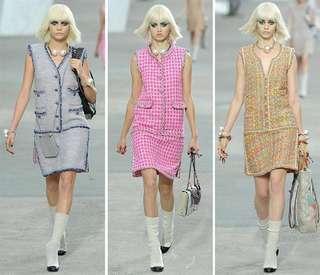 CHANEL TWEED/ LEATHER DRESS 裙