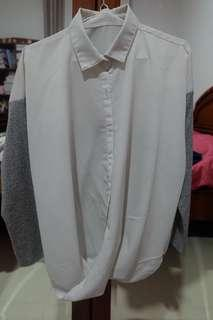 Grey white top