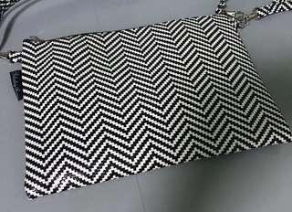 Black and White Zig Zag Clutch Bag with Strap