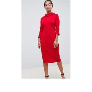 ASOS City Goddess Petite 3/4 Sleeve Pencil Midi Dress NEW WITH TAGS
