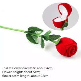 Novelty Romantic Velvet Red Rose Flower Shaped Jewelry Engagement Ring Gift Box Case