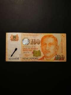 Offer!! Singapore Portrait $100 0BF Replacement Notes