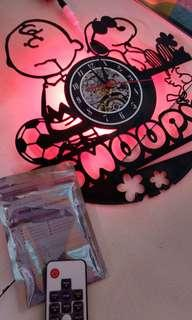 Vintage Snoopy Wall Clock With Remote 6 colours LED Light