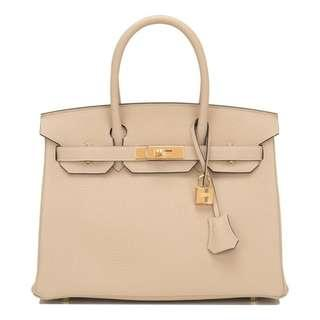 Pre-owned HERMES BIRKIN 30 Parchment beige, Togo leather, Gold hardware
