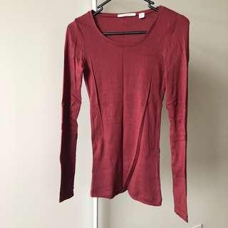 Country Road Burgundy Top (Aus size XXS)