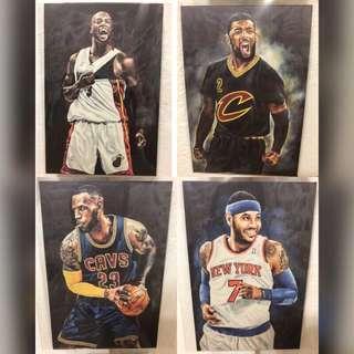 🚚 <送LBJ海報>NBA 傳奇球星明信片 Roy Cheng Artworks D-Wade KI LBJ CA