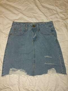 Distressed Denim Skirt Size M