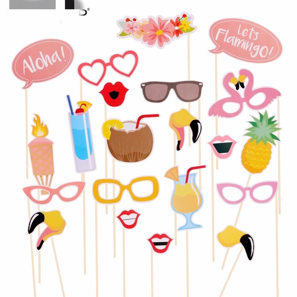 21 Pieces Party Photo Booth Props Beach Pool Party Hawaii Style