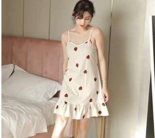 🚚 Sweet strawberry Korean pyjamas night dress *READY SG STOCK*