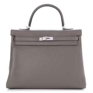 Pre-owed HERMES KELLY 35 Retourne, Etain/Etain grey, Clemence leather, Silver hardware