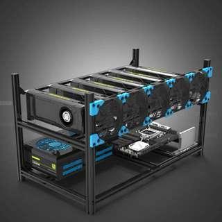 [Clearance] Veddha Black Aluminum 6 GPU Rack for Cryptocurreny Mining Rigs